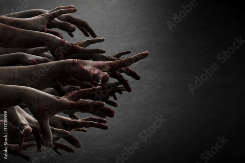 Canvas Print Zombie hands