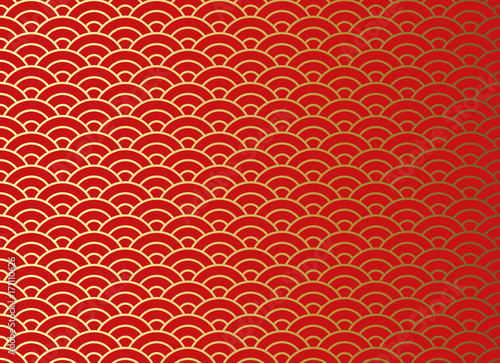 Chinese traditional oriental ornament background, red golden clouds pattern seam Fotobehang