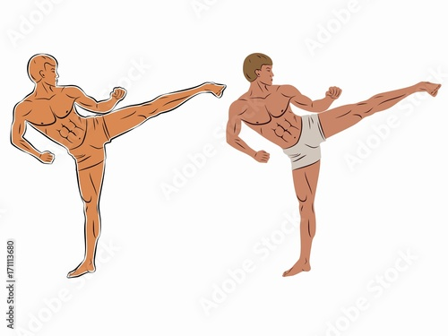 Photo  illustration of a kickboxer, vector draw