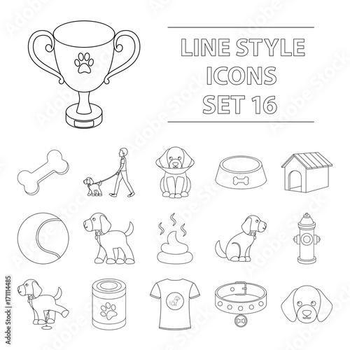Dog equipment set icons in outline style Wallpaper Mural