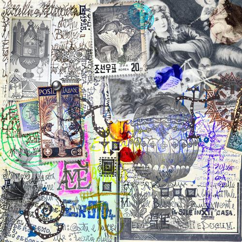 Foto op Aluminium Imagination Manoscritti alchemici e misteriosi con graffiti,schizzi,disegni e simboli esoterici,astrologici e alchemici