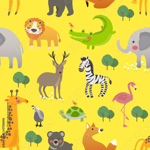 Poster de jardin Zoo Illustration drawing style set of animal