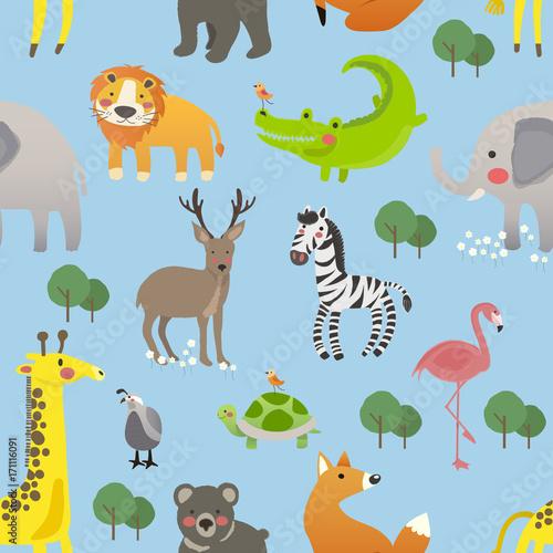 Illustration drawing style set of animal Canvas Print