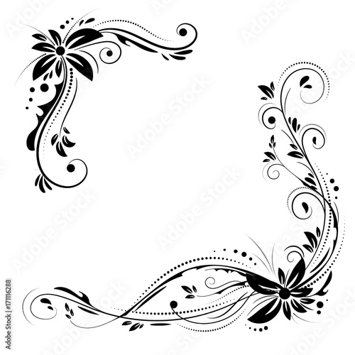 floral corner design ornament black flowers on white background vector stock decorative border with flowery elements pattern wedding card with flourish swirl and circles buy this stock vector and explore vector stock decorative border with