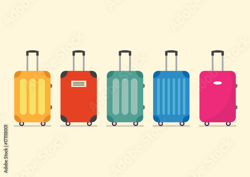 Travel luggage set for vacation and journey Canvas Print