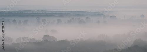 Aluminium Prints Dark grey Landscape panorama with fog
