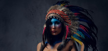 Female With Indian Feather Hat...
