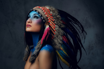 Female with Indian feather ...