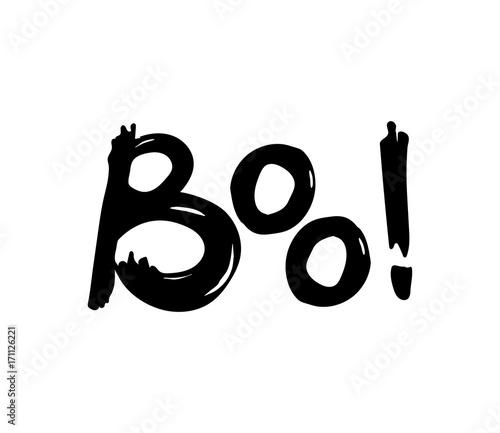 Valokuvatapetti Boo! Halloween hand drawn lettering. Vector illustration.