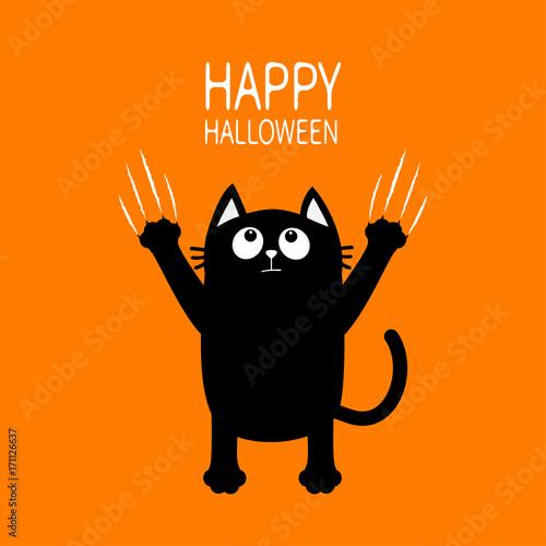 Happy Halloween Black Cat Claw Scratch Glass Kitten Standing