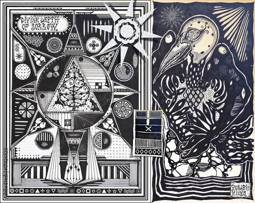 Garden Poster Imagination Manoscritti alchemici e misteriosi con graffiti,tarocchi,schizzi,disegni e simboli esoterici,astrologici e alchemici