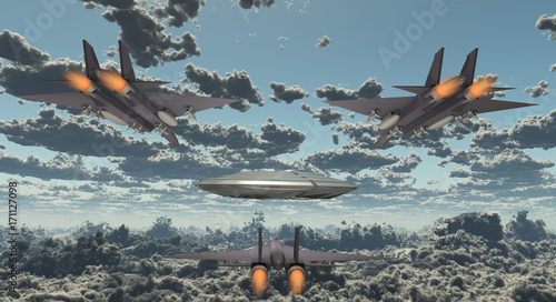 Foto op Canvas UFO Military Jets Pursue UFO