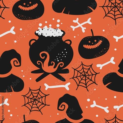 Cotton fabric Vector seamless halloween pattern.