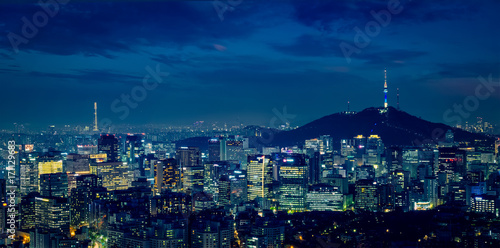 Poster Lieu connus d Asie Seoul skyline in the night, South Korea.