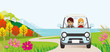 Car driving in the Autumn road ,Front view - Young couple