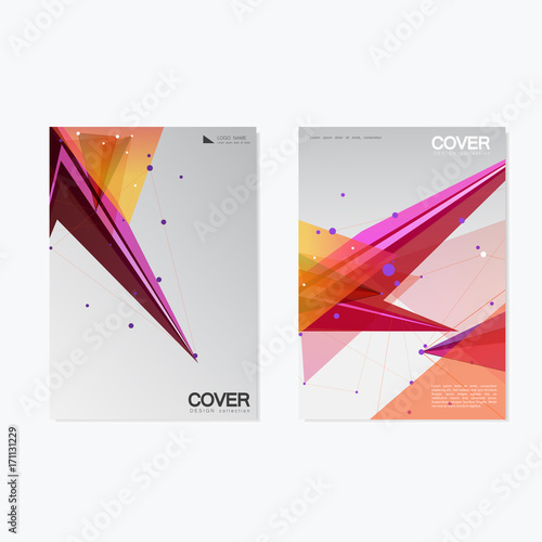 Foto op Canvas Bloemen vrouw Brochure Cover Template Design / Annual Report, Book, Magazine, Poster in A4 with polygonal object / Lines, Dots, Triangle Concept For Business / Vector Background