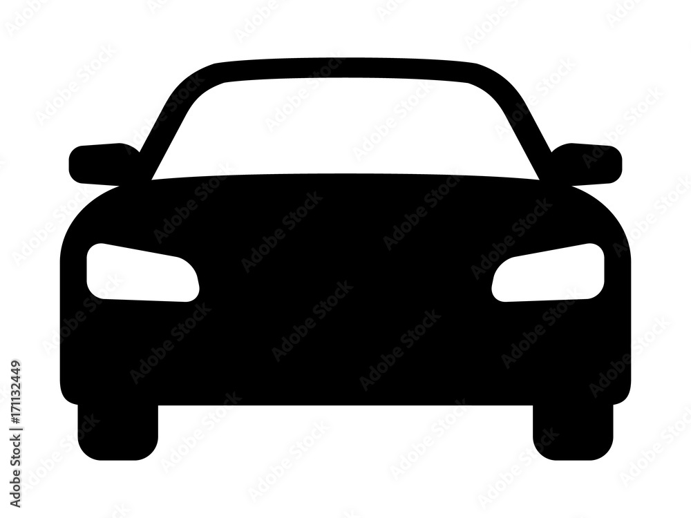Fototapeta Sedan car, vehicle or automobile front view flat vector icon for apps and websites