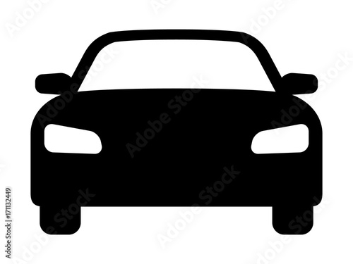 Fotografie, Obraz  Sedan car, vehicle or automobile front view flat vector icon for apps and websit