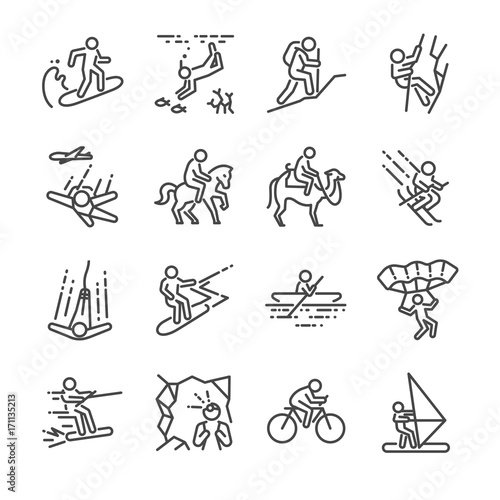 Photo  Travel activities line icon set