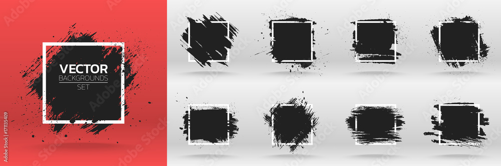 Fototapeta Grunge backgrounds set. Brush black paint ink stroke over square frame. Vector illustration