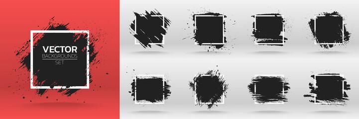 Grunge backgrounds set. Brush black paint ink stroke over square frame. Vector illustration