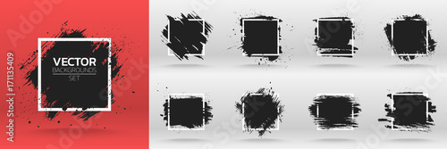 In de dag Vormen Grunge backgrounds set. Brush black paint ink stroke over square frame. Vector illustration