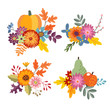 Set of hand drawn bouquets made of pumpkin, apple and pear fruit. Floral composition with colorful leaves and flowers. Autumn, fall concept. Isolated vector objects.