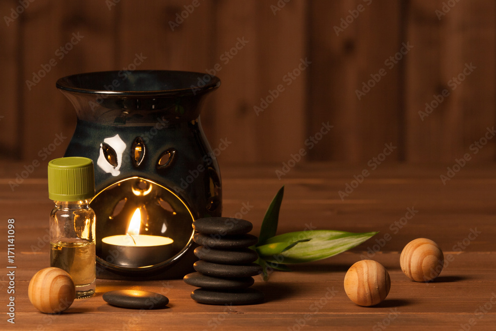 Fototapety, obrazy: Aroma Lamp With Burning Candle. Aromatherapy. Essential Oil. Spa Room.
