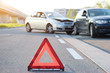 Reflective red triangle to point out car crash