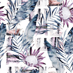 FototapetaAbstract print with marble random elements and watercolor leaves, flowers. Exotic pattern in retro style. Hand drawn illustration