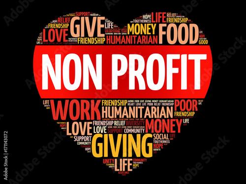 Photo Non Profit word cloud collage, heart concept background