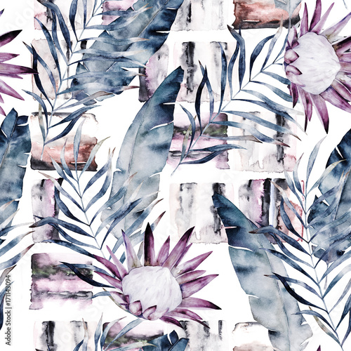 Abstract print with marble random elements and watercolor leaves, flowers. Exotic pattern in retro style. Hand drawn illustration