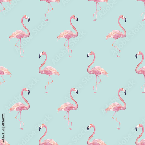 Canvas Prints Flamingo Bird Watercolor seamless pattern with exotic flamingo. Summer decoration print for wrapping, wallpaper. Hand drawn illustration