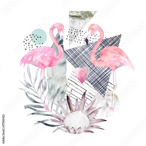 Abstrakcjonistyczny geometryczny plakat z flamingiem i protea. Letni tropikalny projekt. Ręcznie rysowane ilustracji