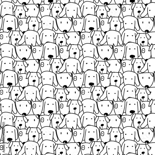 Photo  Hand Drawn Cute Dog Vector Pattern. Doodle art.