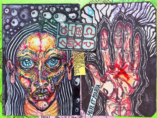Foto op Aluminium Imagination Manoscritti alchemici e misteriosi con graffiti,tarocchi,schizzi,disegni e simboli esoterici,astrologici e alchemici