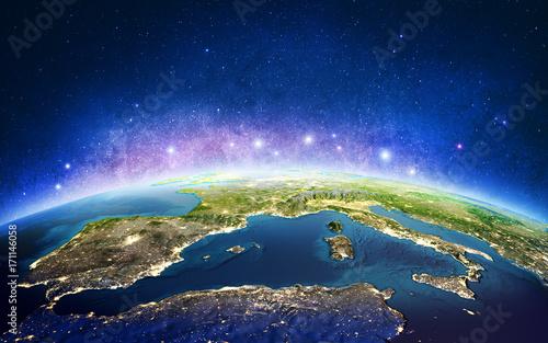 Fototapeta Europa z kosmicznych gwiazd galaktyki. Renderowania 3D