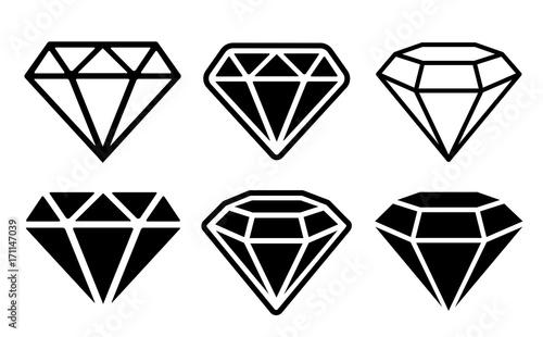 Diamond Icon set - stock vector. Canvas Print