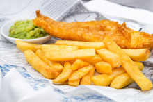 Fish And Chips With Mushy Pea...