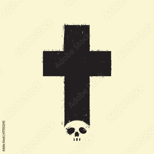 Foto auf AluDibond Aquarell Schädel Vector sign of dark cross with a skull and spray droplets on a light background in grunge style