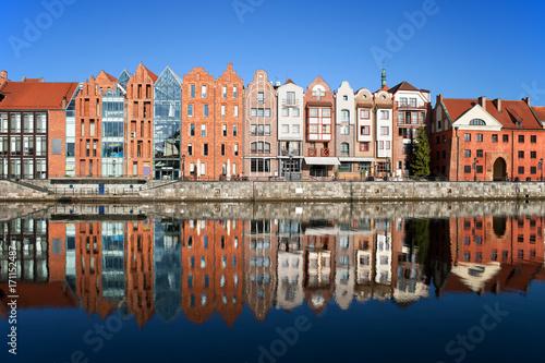 Zdjęcie XXL Gdansk City Riverside Houses Z Refleksji W Wodzie, Polska