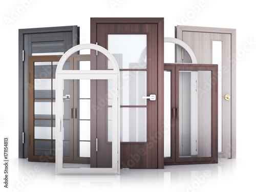 Windows and doors on white background Canvas Print