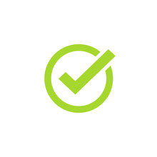 Tick Icon Vector Symbol, Green Checkmark Isolated On White Background, Checked Icon Or Correct Choice Sign, Check Mark Or Checkbox Pictogram