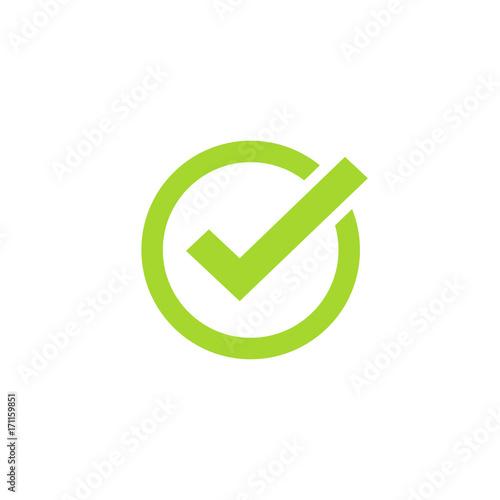 Fotografie, Obraz  Tick icon vector symbol, green checkmark isolated on white background, checked i
