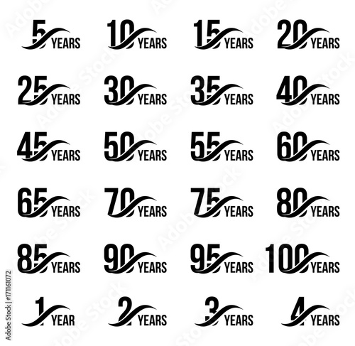 Obraz Isolated black color numbers with word years icons collection on white background, birthday anniversary greeting card elements set vector illustration - fototapety do salonu