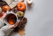 Autumn Background. Hands Holding Cup Of Tea, Autumn Decoration On Gray Background