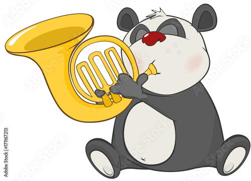 Wall Murals Baby room Illustration of a Cute Panda Trumpeter. Cartoon Character