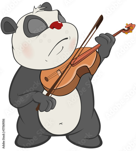 Canvas Prints Baby room Illustration of a Cute Panda Violinist. Cartoon Character