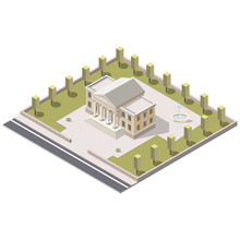Museum Isometric In City