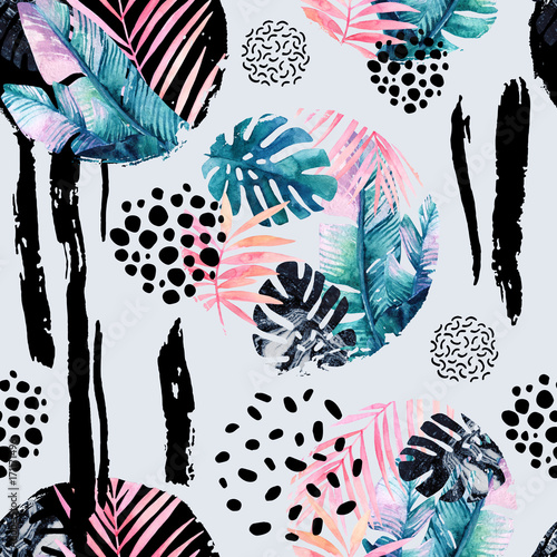 Poster Graphic Prints Abstract natural seamless pattern inspired by memphis style. Circles filled with tropical leaves, doodle, grunge texture, rough brush strokes. Hand painted watercolour illustration